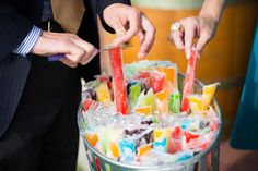 Pre-Ceremony Ice Pops! Cute idea for keeping guests cool.