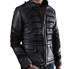 Men Black Military Leather Jacket Men Military Style