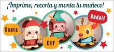 Figuritas de papel de Santa Claus, Rudolph y un Elfo