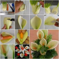 Calla Blumen aus Fenchen und Karotten machen Calla make flowers from Fenchen and carrots Related posts: Elemimate Side Fat Calorie Diets for Obese Women Lunchbox Love Notes for Kids Easiest Vegetables & Fruits to Grow L'art Du Fruit, Deco Fruit, Fruit Art, Fruit Sculptures, Food Sculpture, Veggie Art, Fruit And Vegetable Carving, Veggie Food, Vegetable Decoration