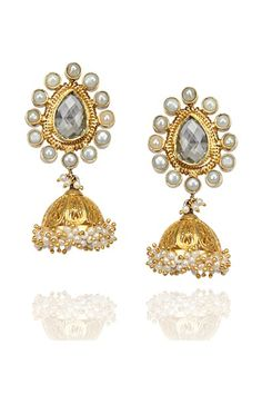 Earrings, Accessories, Carma, Gold Plated Jhumki Earrings with pearls