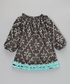 Take a look at this Gray & Blue Doodle Damask Ruffle Dress - Infant, Toddler & Girls by Hummingbird Kids on #zulily today!