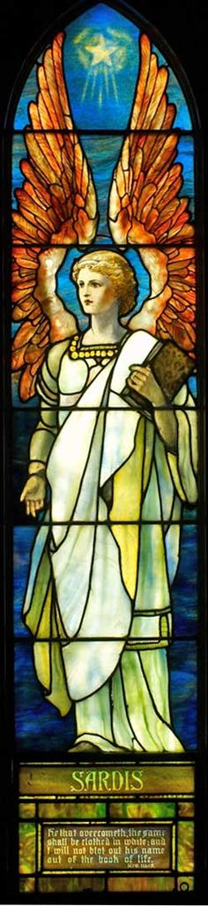 """This window is for the angel of the church at Sardis. Metaphysically, Sardis represents power. """"He that overcometh, the same shall be clothed in white; and I will not blot out his name out of the book of life."""" Rev. 3:5"""