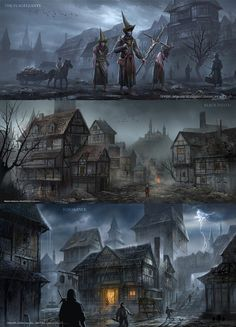 "The original story derived from the novel ""ivanhoe"", but i push the time to 16 century europe with black plague. This project contains 7 pieces, will update regularly.The overall tone of this. Fantasy City, Fantasy Castle, Fantasy Places, High Fantasy, Dark Fantasy Art, Fantasy Rpg, Medieval Fantasy, Fantasy World, Dark Art"