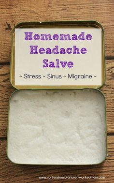 This homemade headache salve for stress, sinus or migraines is very easy to make. You can customize it depending on the type of headache that you have. Peppermint essential oil works the best. However, if your headache is brought on by stress, you may also want to add lavender essential oil with the peppermint. If your headache is caused by congestion, you may want to add eucalyptus essential oil with the peppermint.