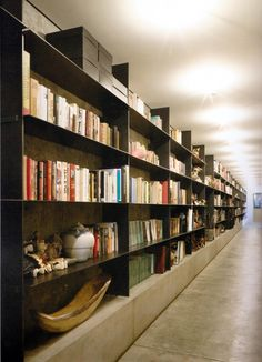 Steel bookshelves / raised up on concrete slab (water safe)