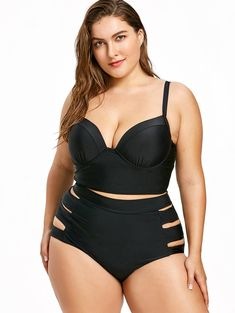 a969e0c0499 Cutout Plus Size Push Up Longline Bikini Make sure your sunny days are full  of relaxation