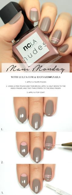 Love the stripe on the ring finger. Mani Monday: NCLA Match Made in Cali Nail Tutorial at LuLus.com!