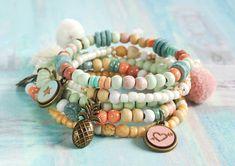 Bettelarmbänder - ✿ 5er Armband-Set ✿ Ibiza-Style, Beach, Boho - ein Designerstück von Lunas-SchmuckART bei DaWanda