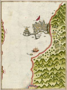 Piri Reis - Illuminated Map of Methana Fortress in the Saronikos Bay, from the…
