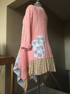 Upcycled Peach and Yellow Floral Tunic dress, Tattered and Raw patchwork Appliqué Unfinished Raw edges Size Medium 21 inches across underarm to underarm 34 long in front 42 long at longest points on sides Free hips Hanging wash this one please