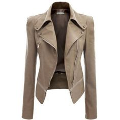 Rotita Khaki Faux Leather Power Shoulder Biker Motorcycle Jacket ($42) ❤ liked on Polyvore featuring outerwear, jackets, khaki, faux-leather moto jacket, biker jacket, vegan motorcycle jacket, faux leather jacket and faux-leather jacket
