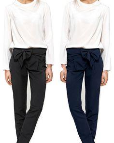 eb2033489e0a Détails sur Pantalon cigarette femme ceinture à nouer noir bleu Nife SD30  FR 38 40 42 44 46