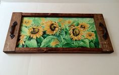 Serving tray, rustic tray with sunflowers, Mothers Day gift