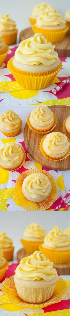 TROPICAL MANGO VANILLA CUPCAKES. Rich, buttery vanilla cupcake with a hint of coconut and a fresh mango buttercream.