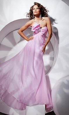 TB-2351200: Long Strapless Formal Gown with Bow
