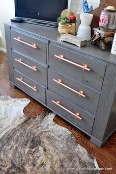 DIY Copper Drawer Pulls update an IKEA Dresser