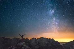A self portrait taken 2 weeks ago on Mt. Mangart in Slovenia. It was a fun feeling to stand exposed, without clothes, on a mountain-top in front of the beautiful summer milky way. Milky Way, Slovenia, Northern Lights, Freedom, Mountains, Portrait, Nature, Photography, Travel