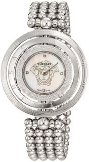Versace Women's 3 Rings Stainless Steel Bracelet with Mother-of-Pearl Dial and Diamond Accents Watch