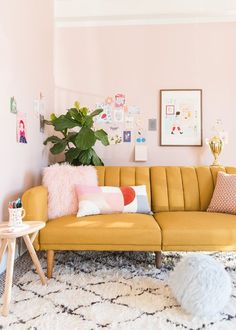 2019 Interior Design Trends: Part One — 204 PARK channel tufted mustard sofa in blush room Living Pequeños, Home And Living, Living Spaces, Living Rooms, Small Living, Modern Living, Barn Living, Bright Living Room Decor, Cozy Living