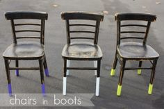 From the Paint+ Tofu blog, DIY Painted chairs.