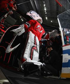 NEWARK, NJ - DECEMBER 29: Cory Schneider #35 of the New Jersey Devils walks out for warmups prior to the game against the Buffalo Sabres at the Prudential Center on December 29, 2017 in Newark, New Jersey. (Photo by Bruce Bennett/Getty Images)