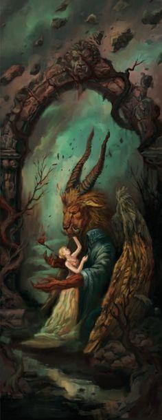 Beauty and the Beast / Persephone en Hades. Illustratie bij 'Hoe De Morrighan in mij ontwaakte' (2002). Werkstukopdracht.