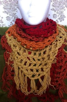 Lignumi Scarf  Fire Edition  Hand Crocheted Scarf  by Fabulami, ¥9720