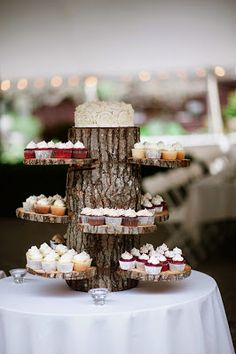 Creative Wooden Log Cupcake Stand