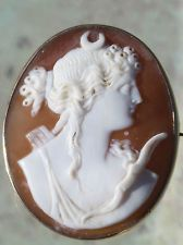 ANTIQUE HAND CARVED SHELL CAMEO ARTEMIS DIANA GOLD FILLED BROOCH PIN