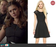 Elena's black lace shoulder dress on The Vampire Diaries.  Outfit Details: http://wornontv.net/45839/ #TheVampireDiaries