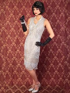 Silver Beaded 1920s Style Flapper Dress - Great for Art Deco Themed Events and weddings! Exclusively at #bluevelvetvintage