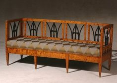 Biedermeier Parcel Ebonized Figured Maple Settee
