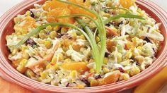 Mandarin Orange Corn Slaw makes a great sweet side to smoky meats Food Dishes, Side Dishes, Slaw Dressing, Slaw Recipes, Rabbit Food, Kinds Of Salad, Salad Ingredients, Fabulous Foods, Side Dish Recipes