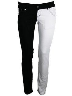 Jist Black and White Split Leg Skinny Jeans: Amazon.co.uk: Clothing
