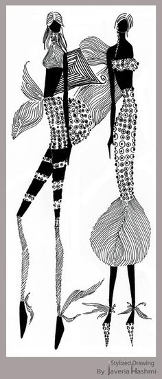 Fashion design illustration styles | ... created this illustration with black and white pen and marker only