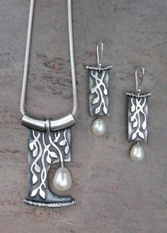 Silver & Pearl Necklace/Earrings Set by Deb Steele. Metal Clay Jewelry, Polymer Clay Jewelry, Pendant Jewelry, Beaded Jewelry, Silver Jewelry, Handmade Jewelry, Silver Ring, Silver Earrings, Metal Jewellery