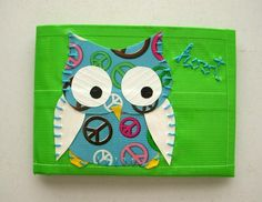 Peace Sign Owl Bifold Duct Tape Wallet - Lime