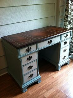 Vintage Desk with Leather Top  Vintage Desk by LynorByJessica, $425.00