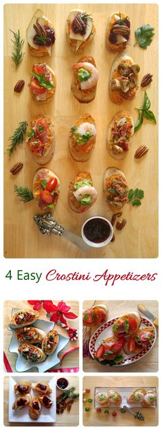 These four crostini appetizers will start your next party off with a bang. They are easy to make and perfect to serve your guests!