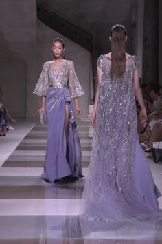 Ziad Nakad Look Fall Winter Haute Couture Collection Gorgeous Embroidered Purple Slit Asymmetric Sheath Evening Maxi Dress / Evening Gown with Long Sleeves and small Train. Fashion Runway by Ziad Nakad Couture Fashion, Runway Fashion, Fashion Models, Fashion Show, 90s Fashion, Fashion Trends, Couture Dresses, Fashion Dresses, Elie Saab