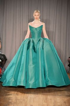 love the teal color of this gown Zac Posen FALL 2014 RTW