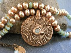 OOAK bronze medallion necklace  Relics  pearl necklace boho