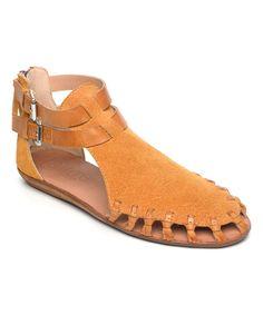 Loving this Saffron Leather Faraway Gladiator Sandal on #zulily! #zulilyfinds