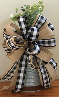 Farmhouse Black and White Buffalo Check Bow, Wreath Bow, Home Décor Bow, Front - Baby interests Buffalo Plaid, Buffalo Print, Plaid Decor, Decorative Bows, Diy Bow, Diy Ribbon, Front Door Decor, Front Porch, Front Doors