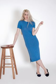 Dress with short sleeves | Sky Blue  This #cotton #dress is made from 100% #sustainable cotton threads and lots of #love. With its #minimal #design it can be perfect for a #fashionable smart look or nice #casual outfit. #flawless smart look #ready to wear