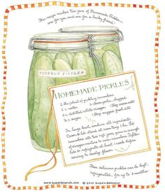 Homemade Pickles, Susan Branch for Country Living Magazine Old Recipes, Canning Recipes, Vintage Recipes, Chef Recipes, Detox Recipes, Branch Art, Country Living Magazine, Homemade Pickles, Old Fashioned Recipes