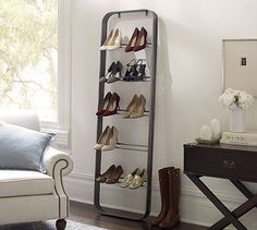 Cool way to organize shoes...New York Shoe Ladder #potterybarn