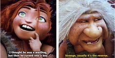 "The Croods ""Strange. Usually it's the reverse. Disney Pixar, Disney Memes, Disney And Dreamworks, Disney Cartoons, Funny Movies, Cartoon Movies, Good Movies, Haha Funny, Funny Cute"