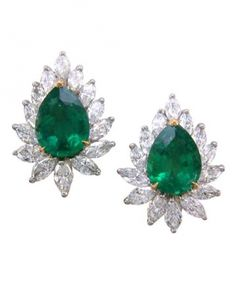 Emerald-and-diamond earrings by Oscar Heyman
